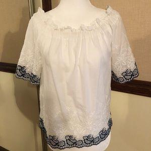 Aqua On/Off Shoulder embroidered Top size S